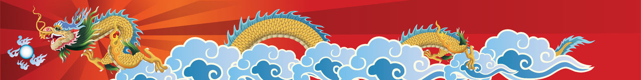 Dragon flying on the sky Stock Image