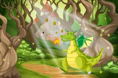 A dragon in the forest castle vector illustration