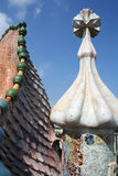 Dragon form roof fragment of Casa Batllo by Antoni Gaudi. Royalty Free Stock Photo