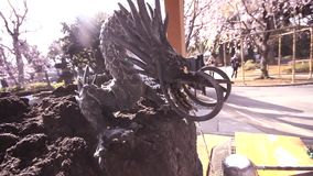 Dragon Fountain at Kiyomizu Kannon Temple and Sakura, Cherry blossom in Ueno Park at Tokyo, Japan stock video footage