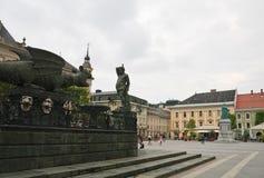 Dragon Fountain Klagenfurt Carinzia l'austria Immagine Stock