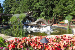 Dragon fountain. Picture of a dragon fountain at Butchart gardens, Victoria,Canada Stock Photography