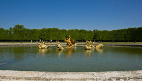 Dragon Fountain, Versailles. One of Versailles gardens fountains,  which represent one of the episodes of the legend of Apollo: the Python snake killed by an Stock Photography