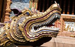 Dragon in front of the temple. Thailand Royalty Free Stock Photos
