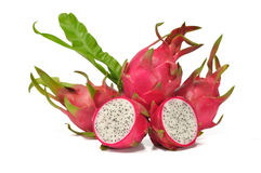 Dragon fruit. The fresh dragon fruit on the white background Stock Images