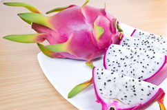 Dragon fruit. On wooden cutting board Royalty Free Stock Image