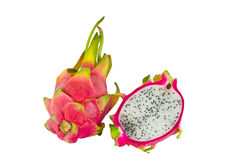 Dragon fruit. A BRIGHTLY COLORED DRAGON FRUIT AGAINST WHITE BACKGROUND stock image