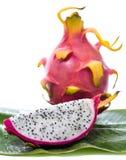 Dragon fruit on banana leaf Royalty Free Stock Photography