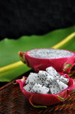 Dragon fruit with banana leaf on background Royalty Free Stock Images