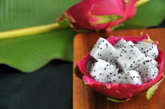Dragon fruit with banana leaf background Stock Photography