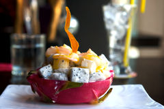 Dragon Fruit bowl. Dragon fruit in fruit bowl presented and nicely decorated Stock Image