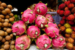 Dragon Fruit in Cambodian Market Stock Photos
