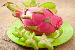 Dragon fruit and carambola Stock Photography