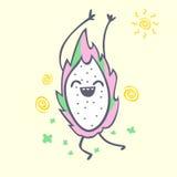 Dragon fruit cartoon character, cute kawaii pitaya,  illustration Royalty Free Stock Photo
