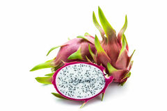 Dragon fruit ,cross section showing the skin. Stock Photos