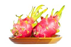 Dragon fruit On the dish. Royalty Free Stock Image