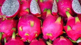 Dragon Fruit. Exotic Tropical Dragon Fruit on Market Stand, Thailand stock footage