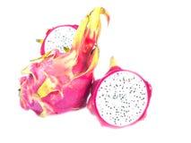 Dragon fruit isolated on white background. Sliced dragon fruit. Dragon fruit white inside Stock Photography