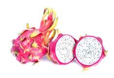 Dragon fruit isolated on white background. Sliced dragon fruit. Dragon fruit white inside Royalty Free Stock Images