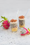 Dragon fruit juice smoothies with nuts and banana cocktail Stock Image