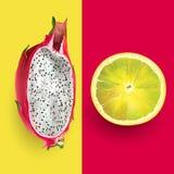 Dragon fruit and lemon. Vector illustration. Dragon fruit and lemon on a red and yellow background Royalty Free Stock Photography