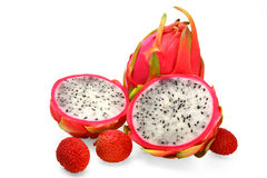 Dragon fruit and litchi Stock Image