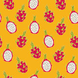 Dragon fruit pattern. Vector Illustration. Exotic fruit. Hand-drawn style Royalty Free Stock Images