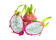 Dragon fruit pink peel green stalk slice Stock Photo