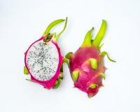 Dragon fruit pink peel green stalk slice on white background Royalty Free Stock Photo