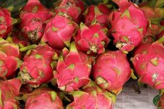 Dragon Fruit. Or Pitaya for sale at the local market in Sihanoukville, Cambodia stock images