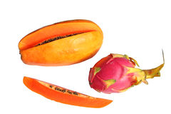 Dragon fruit (Red Pitaya) and papaya Stock Photos