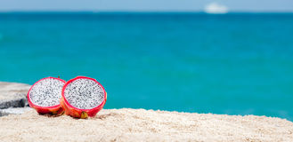 Dragon Fruit On Sand Stock Photos