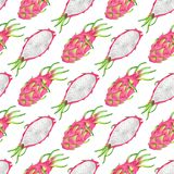Dragon fruit seamless pattern repeat on white. Dragon fruit printable paper. Watercolour illustration Royalty Free Stock Image
