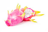 Dragon fruit. Sliced dragon fruit on white background Royalty Free Stock Images