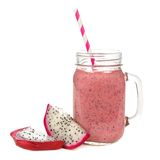 Dragon fruit smoothie in jar glass with fruit slices isolated Royalty Free Stock Images