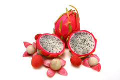 Dragon fruit and two half with open litchi Stock Photo