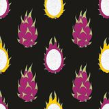 Dragon fruit. Vector seamless pattern on a black background Stock Photo