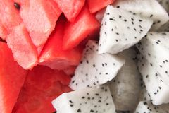 Dragon fruit and watermelon Royalty Free Stock Photo