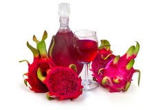Dragon Fruit wine glass goblet and bottle Royalty Free Stock Images