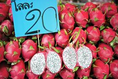 Dragon fruits at a market in Bangkok royalty free stock images