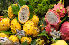 Dragon fruits at market in Barcelona Royalty Free Stock Photos