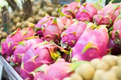 Dragon fruits on shelf at supermarket Royalty Free Stock Photos