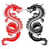 Dragon gazing side. Black and red tribal dragon tattoo vector illustration Royalty Free Stock Image