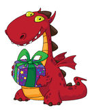Dragon and a gift Stock Image