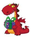 Dragon and a gift stock image