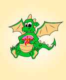 Dragon with a gift. Humor, surprise.symbol traditi. Humor, surprise, winter. Dragon with a gift brochure card cardboard cartoon celebration royalty free illustration