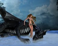Dragon Girl. Digital render of a girl and dragon in a foggy winter landscape stock illustration