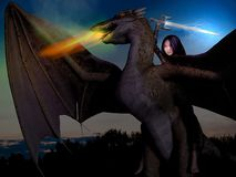Dragon girl. Combined 3D render and photography of a girl, riding on a dragon with sword and lightnings, and sunset background Royalty Free Stock Image