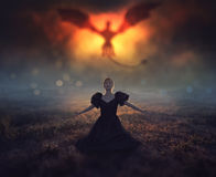 Dragon and girl. A large dragon flies down from the clouds while a girl is praying royalty free stock photography