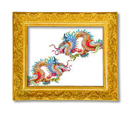 Dragon in the gloden frame Royalty Free Stock Photo